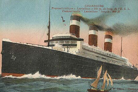 Leviathan-Cherbourg, France postcard