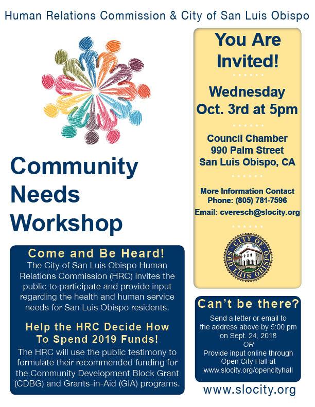 Community Needs Workshop 2018 Flyer