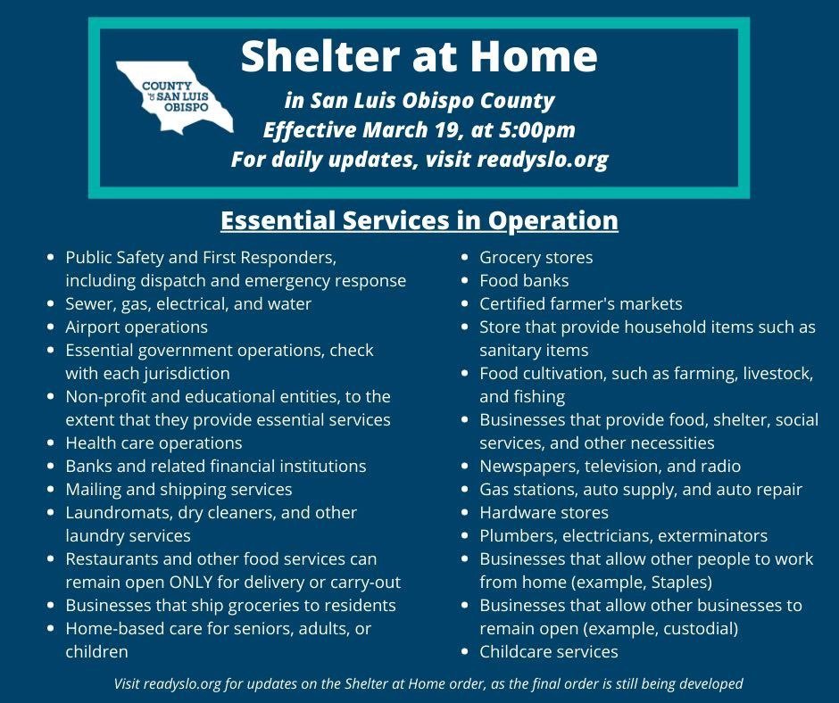List of Essential Services for Shelter at Home