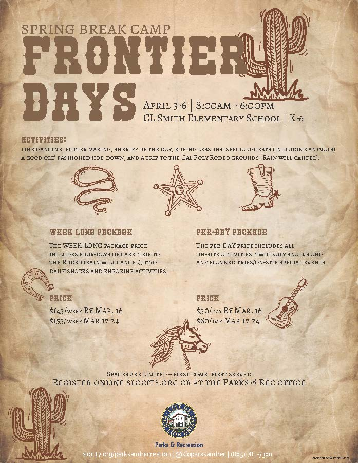 frontier days spring break camp 2018